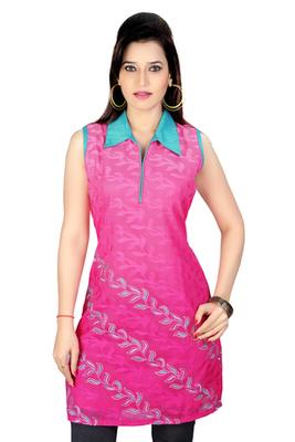 Pink Machine Workand Chanderi Fabric Kurti
