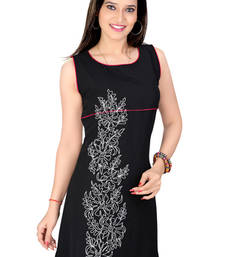 Buy black lazer georgett dori work tunic kurtas-and-kurtis online