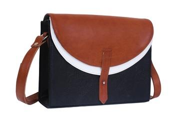 Lychee Bags Black, Tan PU Lacey Sling Bag