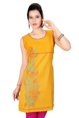 Yellow Cotton Dori Work Kurti