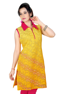 Yellow Machine Work And Chanderi Kurti