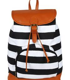 Lychee Bags Women's Black, White Canvas Delicia Backpack