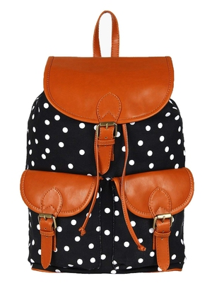 Lychee Bags Canvas/PU Debbie Backpack for Girls (Black)