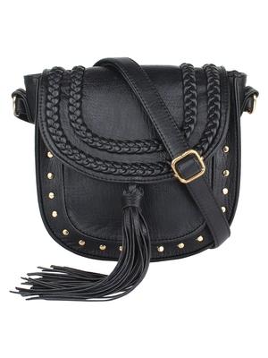 Lychee Bags Girl's Black PU Hana Sling Bag
