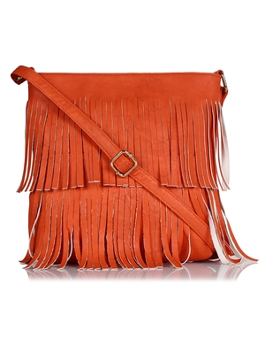 Lychee Bags Girl's PU Pam Fringes Sling Bag