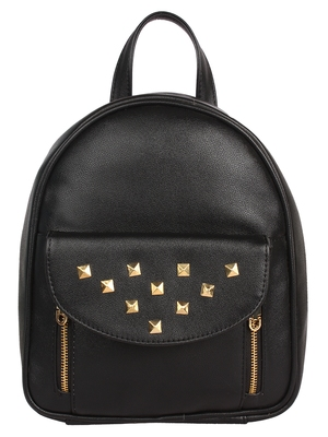 Lychee Bags PU Emily Backpack for Girls (Black)