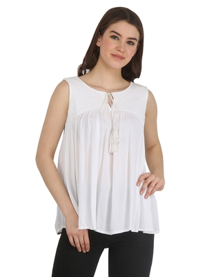 White printed rayon party-tops