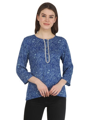 Blue printed rayon party-tops