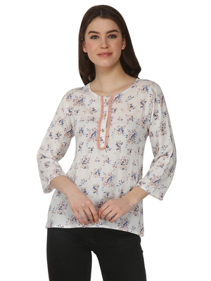 White printed rayon party tops