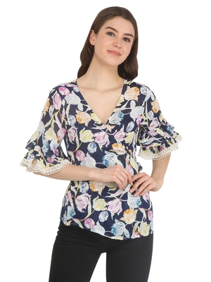 Multicolor printed rayon party tops