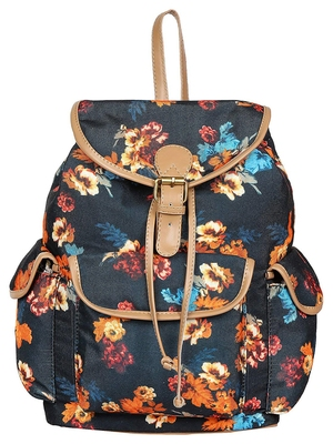 Lychee Bags Canvas Black Aria Backpack for Girls