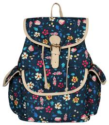 LYCHEE BAGS Blue Floral Print Canvas Backpack