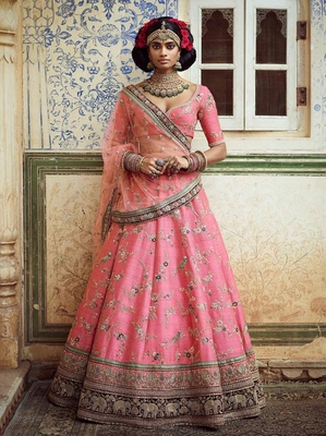 Wonderful Pink Embroidered Designer Art Silk Wedding Designer Bridal Lehenga Choli for Women