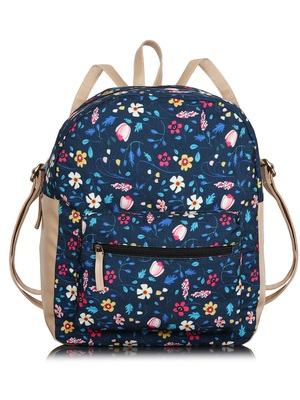 Lychee Bags Canvas Blue Floral Printed Backpack