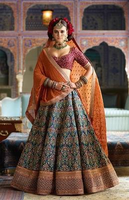 Stunning Blue And Purple Embroidered Designer Lehenga Choli For Wedding