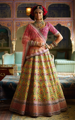 Stunning Yellow and Purple Embroidered Designer Bridal Lehenga Choli for Wedding