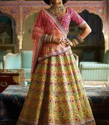 Stunning Yellow And Purple Embroidered Designer Bridal Lehenga Choli For Wedding