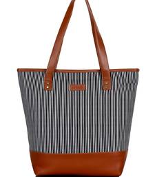 Lychee Bags Canvas stripes Printed Shopper Bag
