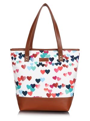 Lychee Bags Canvas multicolor Heart Printed  Shopper Bag