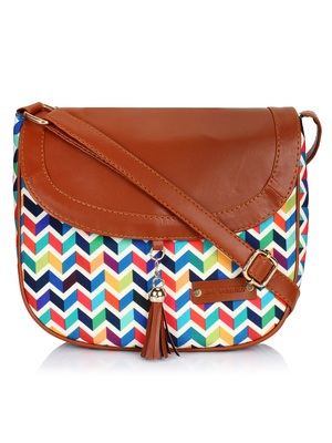 Lychee Bags Canvas Multicolor Zig-Zag Printed Sling Bag