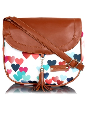 Lychee Bags Canvas Multicolor Heart Printed Sling Bag