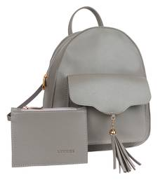 Lychee Bags PU Grey Backpack for Girls