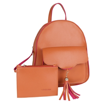 Lychee Bags PU Tan Backpack for Girls