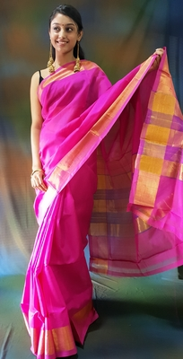 Pink hand woven silk cotton saree with blouse