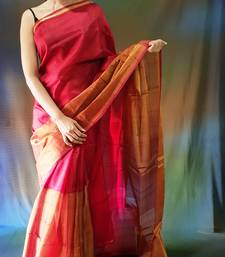 Dark blood red hand woven silk saree with blouse