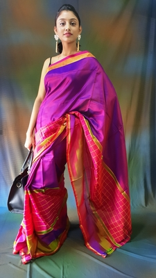Dark purple hand woven silk saree with blouse