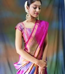 Dark pink hand woven silk saree with blouse