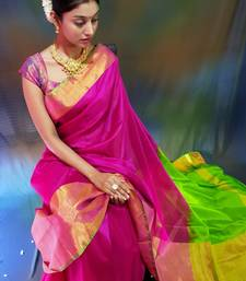 Rani pink hand woven silk saree with blouse