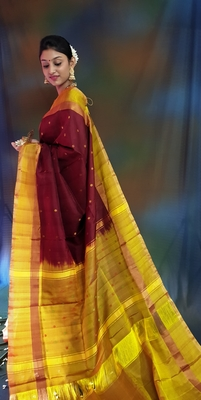 Chocolate hand woven silk saree with blouse