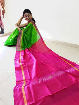 Parrot green hand woven silk saree with blouse