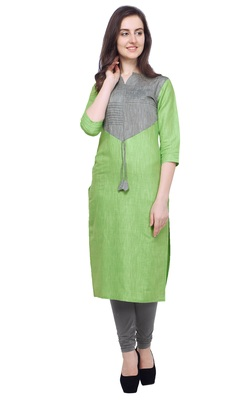 Light-green plain cotton kurti