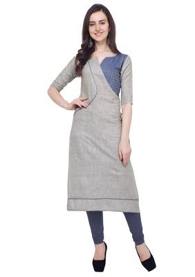 Light-grey plain cotton kurti