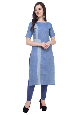 Light-blue plain cotton kurti