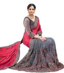 Pink & grey embroidered  silk & net saree with blouse