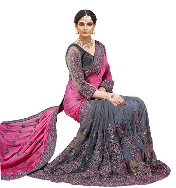 Light pink & grey  embroidered  silk & net  saree with blouse