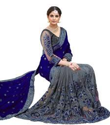 Dark blue & grey  embroidered  silk & net  saree with blouse