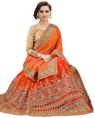 Orange embroidered  silk & net saree with blouse