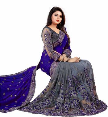 Dark blue embroidered silk & net saree with blouse