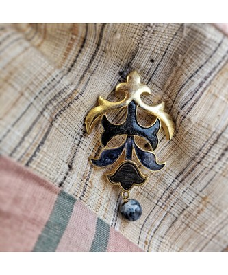 Gold plated Buta brooch with enamel, wood and semi precious stone