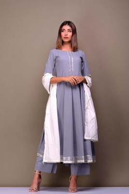 Grey plain cotton kurta sets