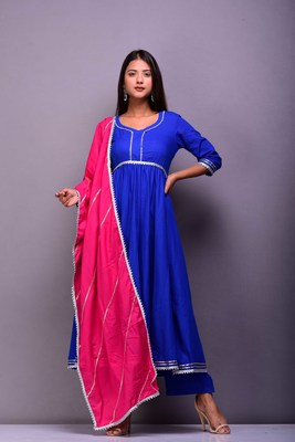 Blue plain cotton kurta sets