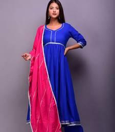 Blue plain cotton kurta sets