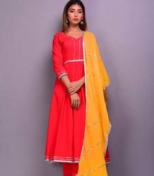 Red plain cotton kurta sets