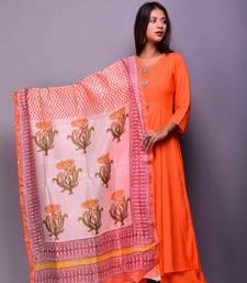 Orange plain rayon kurta sets