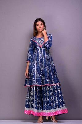 Blue printed cotton palazzo kurta
