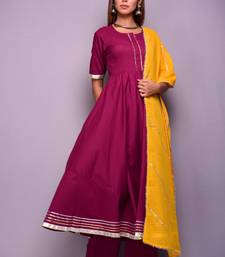 Wine plain cotton kurta sets